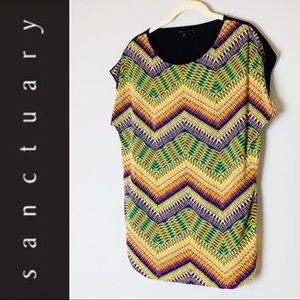Sanctuary Multicolored Chevron Top with Sheer Back